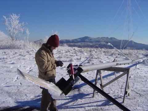 Brett Summerville repairing turbine